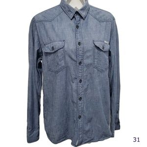 Lucky Brand Jeans Button Front Denim Shirt Size M